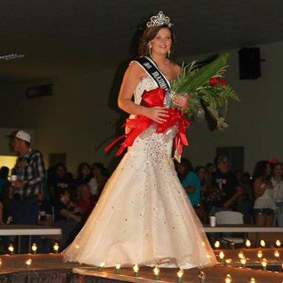 Senior Maddie Stickler walks the stage after being announced as the 2014 BCFA Fair Queen on Saturday night.